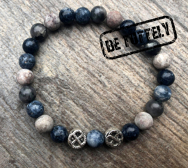Stoere herenarmband natuursteen, mix blue/grey
