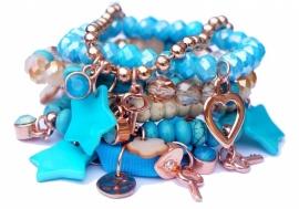 Ibiza armbandenset aqua blauw