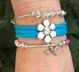 Stretchy Wrap met kralenbandjes Turquoise Flower