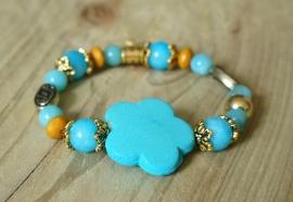 Ibiza Summer 2015 mix & match armband blue flower gold