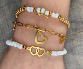 Armbandenset  met ring gold rvs, diverse kleurtjes