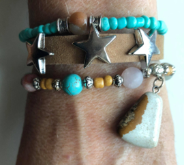 Armbandenset  LS  camel stars and turquoise