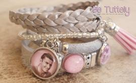 Foto armbandenset zilvergrijs/roze met foto en tekstbedel