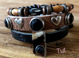 Armbandenset LS black and brown vacht en bone