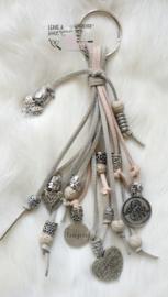 Sleutel / tashanger grey/beige/pink