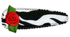 Jumbo haarknip met roosje; zebra (7 cm)