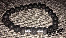 Heren kralenarmband zwart lava