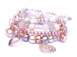 Armbandenset natural pink grey met rose gold, 4 delig