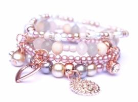 Armbandenset natural pink grey met rose gold, 4 delig