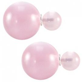 Double Dots pearl oorbellen cat eye roze