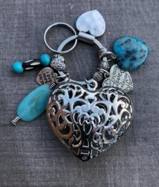 Sleutel/tashanger LS big heart turquoise