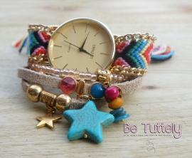 Horloge en armbandenset Ibiza Summer 2015 Boho Gold natural
