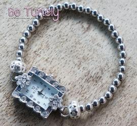 Losse horloge armband silver rechthoek