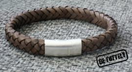 Heren leren armband Vintage Earth ovaal gevlochten