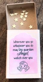 Geluksengeltje los, pink/lila glitter (kleiner), verpakt in doosje met tekst