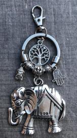 Sleutel/tashanger LS  Olifant zilver