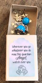 Geluksengeltje los, turquoise, verpakt in doosje met tekst
