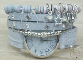 Armbandenset met horloge Croco lichtgrijs