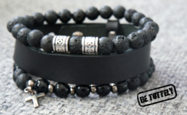 Heren armbandenset lava, zwart en mix