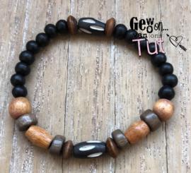 Armband bone and wood black brown