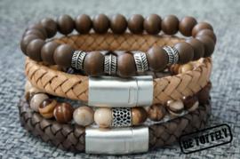 Heren armbandenset zebra jasper, wood, earth and nature