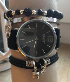 Horloge met armbanden LS black silver