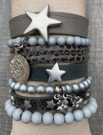 Armbandenset shades of grey