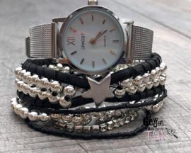 Horloge met armbanden Black and silver