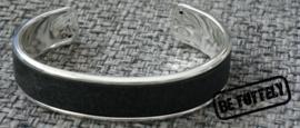 Heren armband metaal met leer antra
