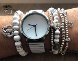 Horloge met armbanden white silver