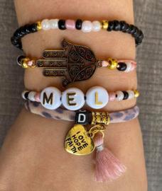 Armbandenset  Naam/Inital  pink/gold/black/leopard