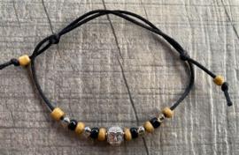 M&M satijn armbandje buddha camel (meer kleuren mogelijk)