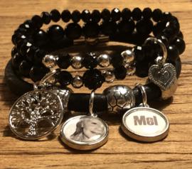 Armbandenset Zwart/zilver met fotobedel