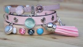 Armbandenset ledercombinatie Ibiza colours