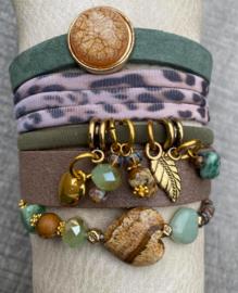 Armbandenset green brown gold