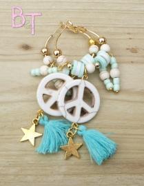 Ibiza Summer 2015 oorringen peace white/turquoise