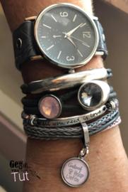 Armbandenset met horloge Grey and Pink