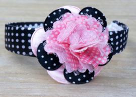 Diadeem / Haarband breed, zwat/wit/roze polkadot bloem