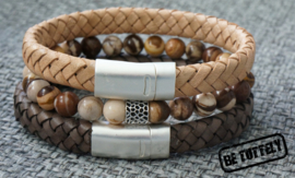 Heren armbandenset zebra jasper, earth and nature