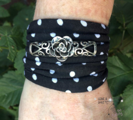 Stretchy Wrap Black & White polkadot