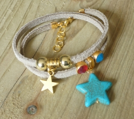Ibiza Summer 2015 mix & match armband suede dubbel gold
