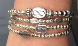 Set armbandjes Just Silver Infinity, Survivor, Faith-Hope-Love en Love