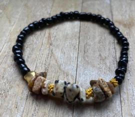 M&M kralenbandje met natuursteen zwart/goud