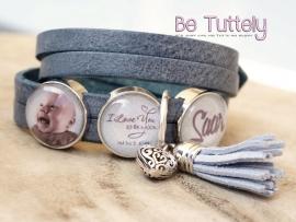 Fotoarmband dubbel split mist blue met fotosliders, tekstslider en zilveren ring met bedels