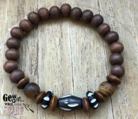 Armband bone, nature en wood bruin