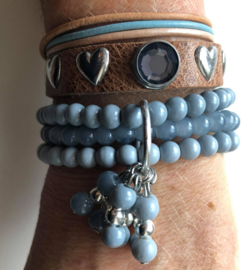 Armbandenset  LS  bruin camel en blauw!