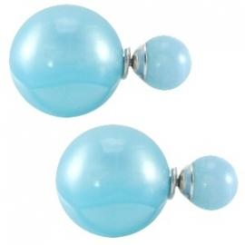 Double Dots pearl oorbellen blauw
