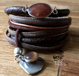 Armbandenset LS dark brown snake stone