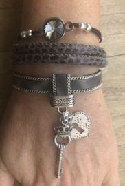 Armbandenset LS Key to my heart in grey