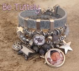 Foto armbandenset antraciet met foto, naambedel en vele bedels